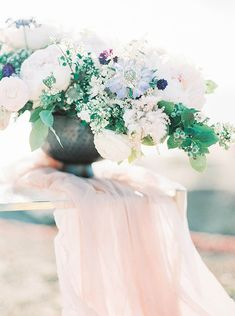 white + light blue blooms