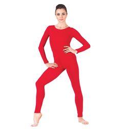 Adult Red Scoop Long Sleeve Unitard Lycra Spandex Full Body Gymnastics Unitard Second Skin Tight Bodysuit Dance Women Body Wrappers, Dance Tights, White Bodysuit, Black Tights, Lycra Spandex, Long Sleeve Bodysuit, Skin Tight, Dance Outfits, Dance Wear