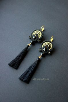 Black and gold handmade soutache earrings. If Youve got any questions - feel free to contact me.