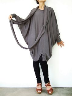 NO.57  Grey CottonBlend Oversize Sweater With by JoozieCotton, $44.00 #handmade #fashion