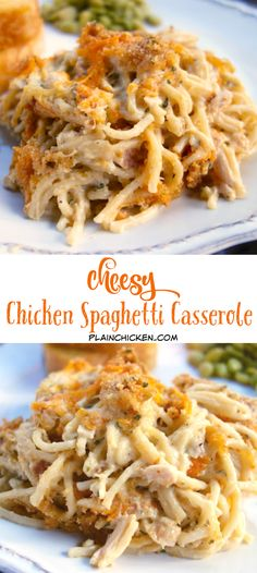 Cheesy Chicken Spaghetti Casserole - chicken spaghetti cream of chicken soup sour cream butter seasonings Parmesan and cheddar cheese -THE BEST! We make this once a month! Makes a great freezer meal! Chicken Spaghetti Casserole, Cheesy Chicken Spaghetti, Best Chicken Spaghetti Recipe, Cheesy Chicken Casserole, Shredded Chicken Casserole, Plain Chicken Recipe, Shredded Chicken Recipes, Hamburger Casserole, Chicken Alfredo