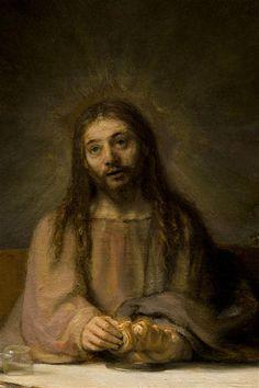 Rembrandt van Rijn - Le Christ se révélant aux pèlerins d'Emmaüs (détail), 1648