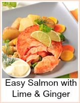 An easy seafood recipe - Salmon with Lime & Ginger. If you're cooking on a hot summer night, here's a fabulously refreshing meal to be prepared a few hours ahead of time... once you have grilled the salmon and covered with marinade, let it cool off completely.   Then put it in the refrigerator for 2 to 3 hours. Serve cold, with extra marinade on the side as a vinagarette. It's absolutely delicious like this served with a cold white bean salad.