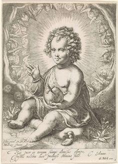 Christuskind als Salvator Mundi, Hendrick Goltzius, Cornelius Schonaeus, Gerard Valck, 1597