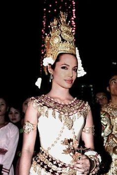 Angelina Jolie dressed as an apsara.