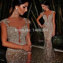 Luxury Gorgeous Mermaid Silver Beads/Sequins/Rhinestones/Embroidery Long Champagne Evening Dress Abendkleider 2015  x06085(China (Mainland))