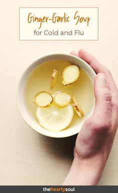 Medicine in a cup: the ginger-garlic soup that fights the cold, flu and sinus in. - Medicine in a cup: the ginger-garlic soup that fights the cold, flu and sinus infections Garlic For Colds, Garlic Soup, Garlic Tea, Natural Cold Remedies, Cold Home Remedies, Healing Soup, Soup Recipes, Healthy Recipes, Recipes
