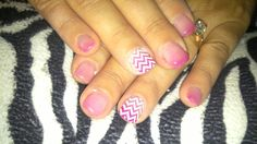 Cheveron nail design!  Acrylic nails with stamped Cheveron nail art on ring fingers with thermal gel nail polish and gel top coat.