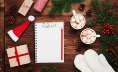 Two Cups Of Hot Cocoa Or Chocolate With Marshmallow, Gifts, Mittens, Christmas Fir Tree And Notebook With To Do List. Stock Image - Image of coffee, christmas: 78493871