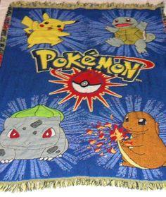 "Pokemon Throw Blanket with fringe Pikachu Charizard Squirtle Ivysaur 40"" x 50"" #TheNorthwestCompany"