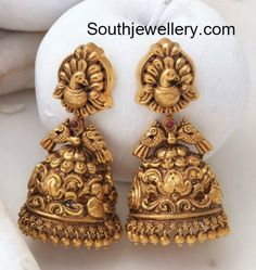 Antique Earrings latest jewelry designs - Page 2 of 56 - Indian Jewellery Designs Gold Jhumka Earrings, Jewelry Design Earrings, Gold Earrings Designs, Antique Earrings, Antique Jewelry, Jewelry Accessories, Gold Necklace, Stud Earrings, India Jewelry
