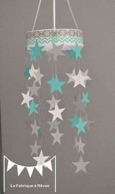 mobile étoiles turquoise blanc gris décoration chambre enfant bébé garçon fille décoration mixte mariage baptême communion anniversaire 3