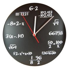 """The Pop Quiz Blackboard Clock is the perfect addition to any bedroom or classroom. A great conversation piece, this fun and functional clock will give everyone loads of fun trying to figure out the equations. Not to mention, it never hurts to enrich your brain power, right? The Pop Quiz Blackboard Clock measures 11.5"""" in diameter. Housed in a sturdy plastic frame and featuring chalk white formulas against a blackboard looking face.  The Pop Quiz Blackboard Clock could make you the next A..."""