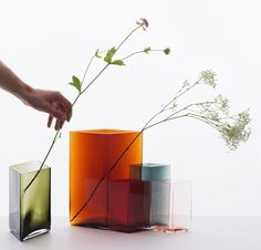 ruutu mouth blown glass vases by ronan & erwan bouroullec for iittala