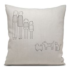 i might try embroidering something like this on a pillow.  This is almost my family- minus the pets :)