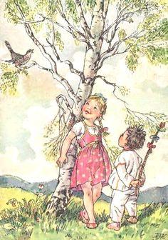 """MFK"" Marie Kvechova-Fischerova Vintage Children's Books, Vintage Postcards, Vintage Art, Vintage Photos, Free Online Jigsaw Puzzles, Cute Drawings, Art Pictures, Art Boards, Illustration Art"