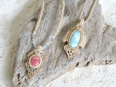 macrame Collar Macrame, Macrame Necklace, Stone Necklace, Pendant Necklace, Micro Macramé, Color Mixing, Creations, Drop Earrings, Stones