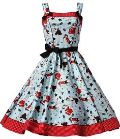 The Dixie Dress by Hell Bunny is super cute and very cheeky! The Pin Up Girl and razor blade print shows you have attitude... and great taste!  A fun dress to keep in your closet for season after season! $90