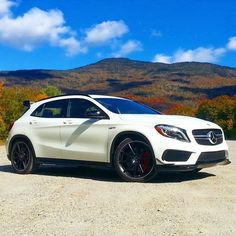 The GLA45 AMG in its element among the #fallcolors.  #MBphotocredit @jeffreynross  #Mercedes #Benz #GLA45 #AMG #fall #instacar #carsofinstagram #germancars #luxury #MBPressDrive