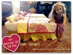 DIY American Girl Doll Bed...from a plastic storage container! Such cute AG ideas!