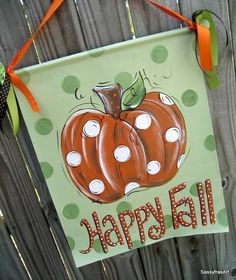 Hand Painted Happy Fall/Pumpkin Welcome Banner