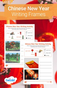 This pack of writing frames is perfect for exploring Chinese New Year with your class! Each page contains two Chinese New Year images, EYFS-friendly sized lines, keywords and pictorial prompts, to help support children to write simple sentences and master difficult words. There's even reminders about using their sounds, finger spaces and full stops! Click to download from Twinkl. #chinesenewyear #teachingresources #eyfs #earlyyears #writingprompts #writing #twinkl #twinklresources #teacher Writing Activities, Teaching Resources, Chinese New Year Pictures, Finger Spaces, Simple Sentences, Space Race, Eyfs, Writing Prompts, Exploring