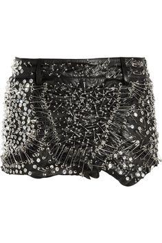 #Balmain  Embellished leather mini skirt  leather skirt #2dayslook #leather style #stylefashion  www.2dayslook.com