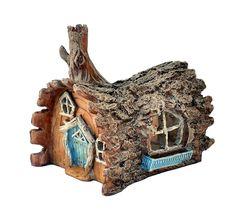 Amazon.com : Fiddlehead Fairy Garden Log Home with Swinging Door : Outdoor Statues : Patio, Lawn & Garden