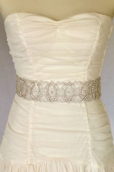 Eden  Rhinestone bridal sash, wedding sash, bridal accessories, crystal sash. $98.00, via Etsy.