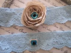 Delicate Blue Lace Bridal Garters with Champagne Chiffon Roses - Handmade Lace Bridal Garters with Vintage Flair