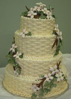 A super example of a Basket Weave cake. Four tier cake serves 120 and features gumpaste dogwood flowers. Basket Weave Cake, Flower Basket Cake, Gorgeous Cakes, Pretty Cakes, Wedding Cake Designs, Wedding Cakes, Garden Party Cakes, 50th Anniversary Cakes, Cupcake Cakes