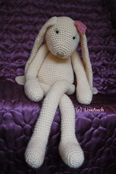 Large crochet toy bunny  See blue bunny below for pattern link