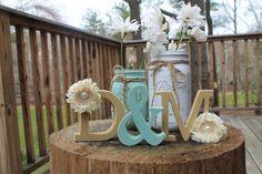 Shabby Chic Wedding Decor - Distressed Wood Monograms and Mason Jars