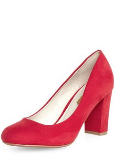 Red high block heel court Shoes