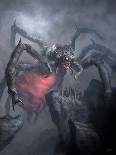 scifi-fantasy-horror: Nhagruul's Bane by Kari Christensen Something something Square-cube law… Dark Fantasy Art, Fantasy Kunst, Fantasy Artwork, Fantasy Life, Fantasy Warrior, Monster Concept Art, Fantasy Monster, Monster Art, Dark Creatures
