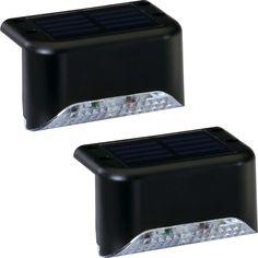 Portfolio 2X 2-Light Black Solar LED Railing Light Kit