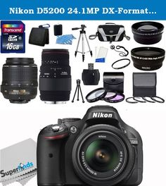 Nikon D5200 24.1MP DX-Format CMOS Sensor Digital SLR Camera (Black) - International Version (No Warranty) with 18-55mm f/3.5-5.6G AF-S DX VR and Sigma 70-300mm f/4-5.6 DG Macro Autofocus Lens (with built-in motor) for Nikon AF + Wide Angle + Telephoto + Full 32GB Deluxe Accessory Bundle. The Nikon D5200 Digital SLR Camera features a 24.1MP DX-format CMOS sensor and EXPEED 3 image processor to produce high quality imagery while delivering fast performance to all camera functions. The...