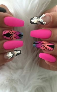 Pink matte nails design nailart