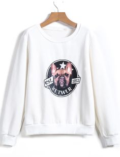 White Long Sleeve Dog Print Loose Sweatshirt - Sheinside.com