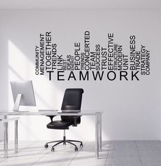 WXDUUZ Vinyl Wall Decal Teamwork Words Business Office Decor Stickers kitchen living room Vinyl Wall Sticker Home Decor Price history. Category: Home & Garden. Subcategory: Home Decor. Office Wall Graphics, Office Wall Decals, Office Walls, Vinyl Wall Decals, Vinyl Art, Office Artwork, Office Mural, Wall Stickers, Office Wall Design