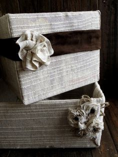 Cute storage solution!  Fabric wrapped cardboard boxes | Roadkill Rescue
