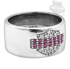 Harley-Davidson® | HDR0346 | Harley-Davidson® Womens .925 Silver Pink & White Bling B&S Band Ring by Mod Jewelry®