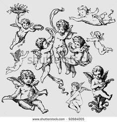 Angel Drawing Fotos, imágenes y retratos en stock   Shutterstock Cherub Tattoo Designs, Angel Wings Drawing, Wings Sketch, Angel Vector, Ange Demon, Background Design Vector, Symbolic Tattoos, Silhouette Vector, Illustrations