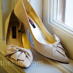 Laura searched everywhere for shoes that were flattering and comfortable -- these champagne-colored heels from Nina fit the bill.