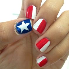 quenalbertini: Fourth of July Nails by IG adelislebron Texas Nails, Mani Pedi, Pedicure, Patriotic Nails, 4th Of July Nails, Short Nails Art, Toe Nails, Beauty Nails, Pretty Nails