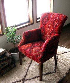 Armchair covered with kilim