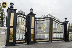 Wrought iron garden gates Wrought iron garden gates Check more at House Main Gates Design, Grill Gate Design, Front Gate Design, Steel Gate Design, Door Gate Design, House Front Design, Wrought Iron Garden Gates, Wrought Iron Doors, Front Gates