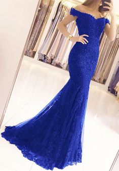long prom dresses - Elegant Pearl Beaded Lace Mermaid Evening Dresses Off The Shoulder Prom Gowns Mermaid Prom Dresses Lace, Royal Blue Prom Dresses, Cute Prom Dresses, Gala Dresses, Tulle Prom Dress, Pretty Dresses, Dress Outfits, Bridesmaid Dress, Fashion Dresses