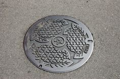 sunflowers on manhole cover, Nagasaki, Japan
