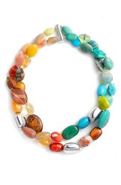 Simon Sebbag Double Strand Semiprecious Necklace available at Beaded Jewelry, Jewelry Bracelets, Handmade Jewelry, Diy Necklace, Gemstone Necklace, Armband Diy, Ideas Joyería, Jewelry Accessories, Jewelry Design